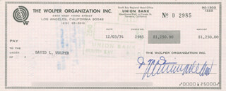 DAVID L WOLPER - CHECK SIGNED & ENDORSED 12/03/1974