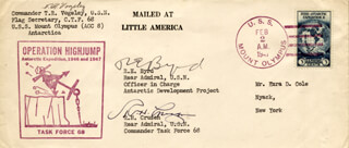 REAR ADMIRAL RICHARD E. BYRD - COMMEMORATIVE ENVELOPE SIGNED CO-SIGNED BY: T. R. VOGELEY, ADMIRAL R. H. CRUZEN