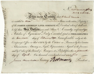 Autographs: ROBERT MORRIS - STOCK CERTIFICATE SIGNED 04/18/1795 CO-SIGNED BY: JAMES MARSHALL