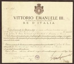 PRIME MINISTER BENITO (IL DUCE) MUSSOLINI (ITALY) - DIPLOMATIC APPOINTMENT SIGNED 05/10/1926 CO-SIGNED BY: KING VICTOR EMMANUEL III (ITALY)