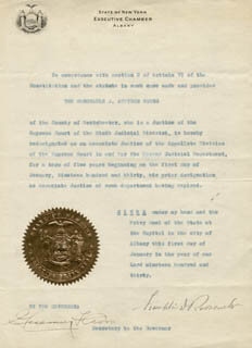 Autographs: PRESIDENT FRANKLIN D. ROOSEVELT - CIVIL APPOINTMENT SIGNED 01/01/1930