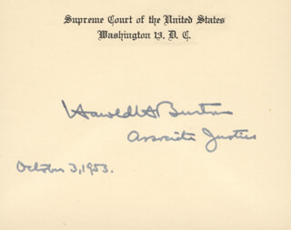 Autographs: ASSOCIATE JUSTICE HAROLD H. BURTON - SUPREME COURT CARD SIGNED 10/03/1953