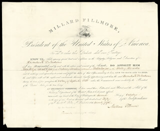 PRESIDENT MILLARD FILLMORE - CIVIL APPOINTMENT SIGNED 10/02/1850 CO-SIGNED BY: THOMAS CORWIN