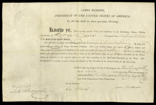 Autographs: PRESIDENT JAMES MADISON - NAVAL APPOINTMENT SIGNED 07/28/1813 CO-SIGNED BY: WILLIAM JONES, NATHANIEL G. MAXWELL