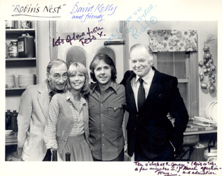 ROBIN'S NEST TV CAST - AUTOGRAPHED SIGNED PHOTOGRAPH CO-SIGNED BY: DAVID KELLY, TONY BRITTON, TESSA WYATT, RICHARD O'SULLIVAN