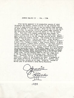 JOHNNIE COLLINS III - BIOGRAPHY SIGNED 7/1984