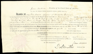 PRESIDENT JAMES MADISON - LAND GRANT SIGNED 01/01/1811 CO-SIGNED BY: ROBERT SMITH (POLITICIAN)