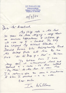 IAN WALLACE - AUTOGRAPH LETTER SIGNED 09/19/1984