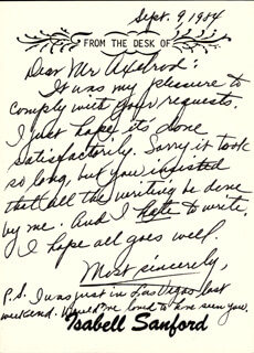 ISABEL WEEZY SANFORD - AUTOGRAPH LETTER UNSIGNED 09/09/1984