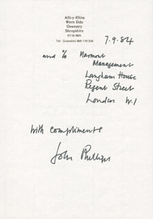 JOHN PHILLIPS - AUTOGRAPH SENTIMENT SIGNED 09/07/1984
