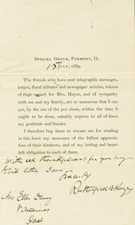 PRESIDENT RUTHERFORD B. HAYES - PRINTED LETTER SIGNED IN INK 07/15/1889