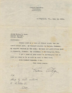 Autographs: PRESIDENT CALVIN COOLIDGE - TYPED LETTER TWICE SIGNED 06/10/1932