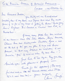 CLIVE SWIFT - AUTOGRAPH LETTER SIGNED 10/05/1984