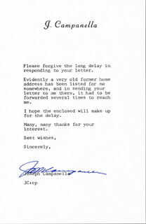 JOSEPH CAMPANELLA - TYPED NOTE SIGNED