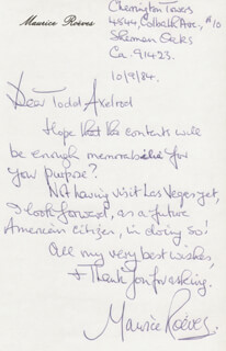 MAURICE ROEVES - AUTOGRAPH LETTER SIGNED 10/09/1984