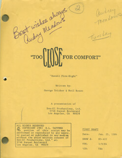 AUDREY MEADOWS - SCRIPT SIGNED