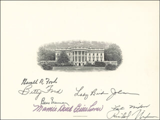 PRESIDENT RICHARD M. NIXON - WHITE HOUSE ENGRAVING SIGNED CO-SIGNED BY: FIRST LADY BETTY FORD, FIRST LADY LADY BIRD JOHNSON, FIRST LADY PATRICIA R. NIXON, FIRST LADY MAMIE DOUD EISENHOWER, FIRST LADY BESS W. TRUMAN, PRESIDENT GERALD R. FORD