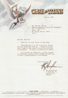 RAY HARRYHAUSEN - TYPED LETTER SIGNED 07/31/1984