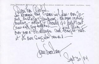 JOAN WOODBURY - AUTOGRAPH LETTER SIGNED 09/30/1984