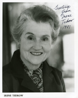 IRENE TEDROW - AUTOGRAPHED SIGNED PHOTOGRAPH 1981