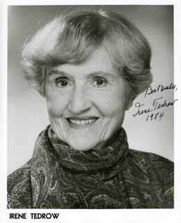 IRENE TEDROW - PRINTED PHOTOGRAPH SIGNED IN INK 1984