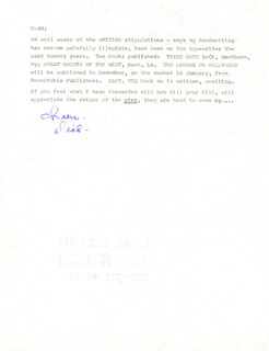 RICHARD WEBB - ANNOTATED TYPED NOTE SIGNED