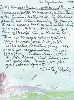 SHIRLEY STOLER - AUTOGRAPH LETTER SIGNED 09/20/1984