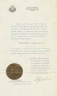 ALFRED E. SMITH - DOCUMENT SIGNED 10/06/1925