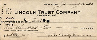 JOHN PHILIP THE MARCH KING SOUSA - AUTOGRAPHED SIGNED CHECK 01/12/1920