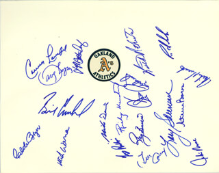 Autographs: THE OAKLAND ATHLETICS - PRINTED CARD SIGNED IN INK 1984 CO-SIGNED BY: STEVE BOROS, CLETE BOYER, DAVEY LOPES, CARNEY R. LANSFORD, MIKE DAVIS, RICKEY HENDERSON, KEITH A. TONY PHILLIPS, CHRIS CODIROLI, WILLIAM H. CAUDILL, KEITH R. COUNTRY ATHERTON, JACKIE S. MOORE, MIKE HEATH, LARY A. SORENSEN, MICHAEL B. WARREN, JEFF A. BETTENDORF, RAY BURRIS