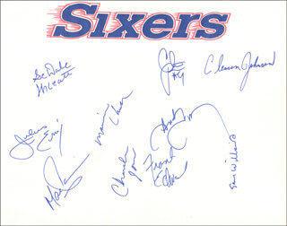 THE PHILADELPHIA 76ERS - AUTOGRAPH CO-SIGNED BY: JULIUS DR. J. ERVING, MARC IAVARONI, SEDALE THREATT, MAURICE MO CHEEKS, CLEMON JOHNSON, SAM WILLIAMS, FRANK EDWARDS, ANDY TONEY, CLINT RICHARDSON, CHARLES JONES