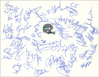 THE SEATTLE SEAHAWKS - AUTOGRAPH CO-SIGNED BY: CHUCK KNOX, STEVE LARGENT, JACOB GREEN, BOB CRYDER, PAUL JOHNS, TERRY TAYLOR, DAVE KREIG, KEITH SIMPSON, BRUCE SCHOLTZ, RON ESSINK, ERIC LANE, MIKE TICE, MICHAEL JACKSON (NFL), GREG GAINES, JEFF BRYANT, BLAIR BUSH, JOE NASH, DAN DOORNINK, RANDY EDWARDS, KENNY EASLEY, BRYAN MILLARD, JEFF WEST, CULLEN BRYANT, ZACHARY DIXON, ROBERT PRATT, PETE METZELAARS, DON DUFEK, REGGIE MCKENZIE, BYRON WALKER