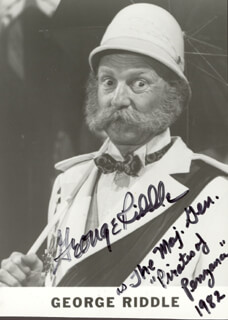 GEORGE RIDDLE - AUTOGRAPHED SIGNED PHOTOGRAPH 1982