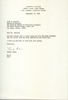 MURPHY DUNNE - TYPED LETTER SIGNED 09/19/1984