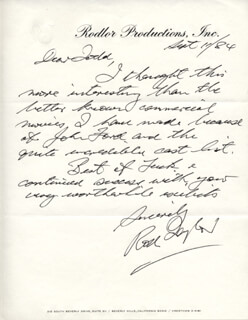 ROD TAYLOR - AUTOGRAPH LETTER SIGNED 09/11/1984