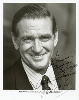 ROD TAYLOR - INSCRIBED PRINTED PHOTOGRAPH SIGNED IN INK