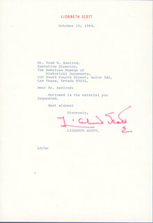 LIZABETH SCOTT - TYPED LETTER SIGNED 10/10/1984