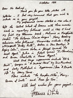 FRANCES WHITE - AUTOGRAPH LETTER SIGNED 10/12/1984