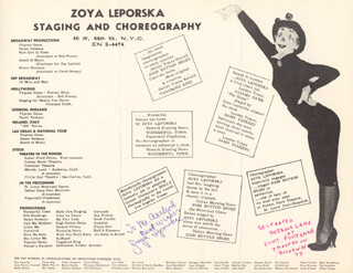 ZOYA LEPORSKA - INSCRIBED LEAFLET SIGNED