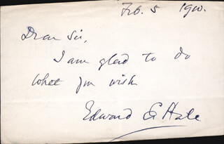 Autographs: EDWARD EVERETT HALE - AUTOGRAPH NOTE SIGNED 02/05/1900