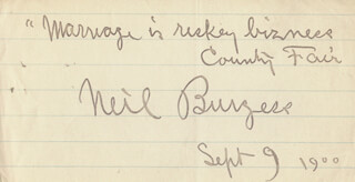 NEIL BURGESS - AUTOGRAPH QUOTATION SIGNED 09/09/1900