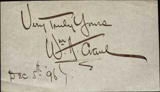 WILLIAM H. CRANE - AUTOGRAPH SENTIMENT SIGNED 12/05/1896