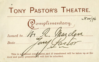 Autographs: TONY PASTOR - TICKET SIGNED 11/1896