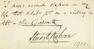 STUART ROBSON - AUTOGRAPH QUOTATION SIGNED 1900