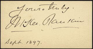 McKEE RANKIN - AUTOGRAPH SENTIMENT ON CALLING CARD SIGNED CIRCA 1897