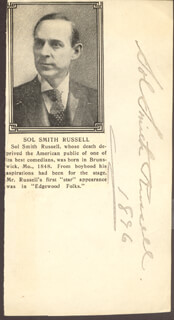 SOL SMITH RUSSELL - AUTOGRAPH 1896