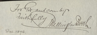 Autographs: BALLINGTON BOOTH - AUTOGRAPH QUOTATION SIGNED CIRCA 1896