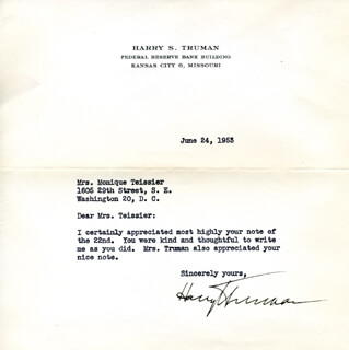 PRESIDENT HARRY S TRUMAN - TYPED LETTER SIGNED 06/24/1953
