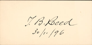 THOMAS B. REED - PRINTED CARD SIGNED IN INK 11/30/1896