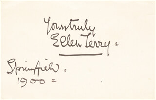 ELLEN TERRY - AUTOGRAPH SENTIMENT SIGNED 1900